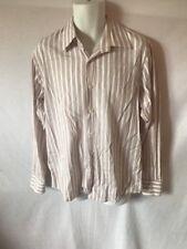Men's HUGO BOSS White&Tan Striped Long Sleeve Button Down Shirt Sz 16.5