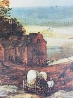 Vintage (1950s) Covered Wagon French Coast Landscape Oleograph Reproduction