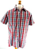 LEVI'S Mens Shirt Short Sleeve M Medium Red Blue White Check Cotton