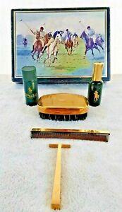 Polo Men's Gold Gild Grooming Kit 5 Pc Brush Razor Comb Vanity Vintage Antique