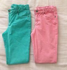 Lot Of 2 Garnet Hill Kids Girl's Corduroy Pants Size 12 Pink Green Euc