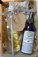 Natural Aromatherapy Lavender Gift Set with Bath Oil, Lavender Mist & Soap