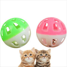 2x Cat Toys Bell Plastic Puppy Cat Round Play Ball Bell Pounce Chase Rattle Toys