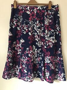 Eastex Knee Length A-Line Light Summer Lined Blue Pink Skirt UK 16