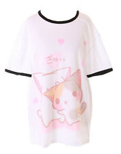TP-181-5 Katzen Liebe Herz Cat Weiß Grafik langes T-Shirt Harajuku Kawaii