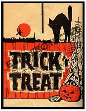 Primitive Halloween Trick or Treat Black Cat Print   PT7     8x10