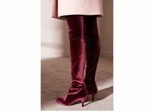 New Stuart Weitzman Tiemodel Red Velvet OTK Boots Sz 10