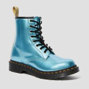 New Dr. Martens AirWair Vegan Goldmix Blue Metallic Boots 25279 Women's Size 6