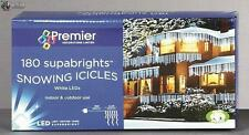 Premier Decorations 180 Led Snowing Icicle Warm White Christmas Decorations New