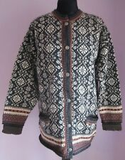 VTG Damen skaeveland grau Multi Schurwolle Nordic Cardigan Größe Large (67a)