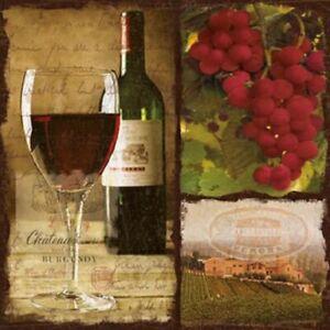 Red Wine Bottle Vineyard Grapes 33cm Paper Party Napkins Serviettes 1-120pk