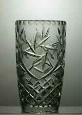 "LARGE BOHEMIA/BOHEMIAN ""PINWHEEL"" CUT GLASS LEAD CRYSTAL VASE - 7"" TALL"