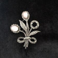 Marcasite Pin / Brooch Flower Vintage Sterling Silver Rose Quartz