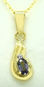 ALEXANDRITE 0.48 Cts & DIAMONDS PENDANT 10k Gold * NEW WITH TAG * Made in USA