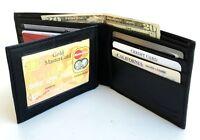 BLACK GENUINE LEATHER MENS BIFOLD WALLET 10 CARD CENTER FLAP HOLDER