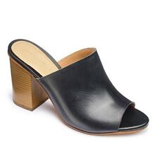 """Sole Diva Womens UK 5 E Wide Fit Black Leather 3.5"""" Mule Heeled Sandals Shoes"""