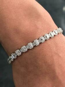 "14k White Gold & Diamonds 5.95ct D/VS1 Emerald Cut Pave Halo Tennis Bracelet 7""L"