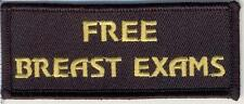 Embroidered Iron-On Cloth Biker Patch ~ Free Breast Exams ~