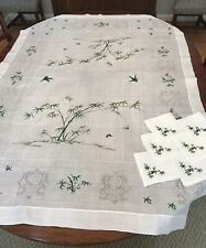 VINTAGE LINEN TABLECLOTH w/ Green Embroidery & 6 NAPKINS