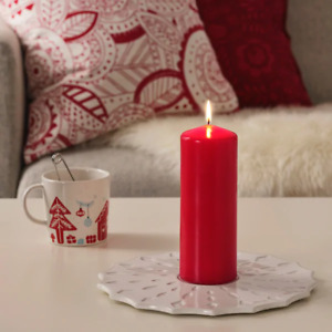 BRIGHT CHRISTMAS 2021 Red Unscented block candle15cm Fennomen 4 hour time