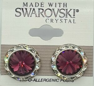 Purple Round Roundel Stud Earrings 13mm Crystal Made with Swarovski