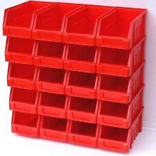 20 x SIZE 2 PLASTIC PARTS STORAGE STACKING BINS BOXES RED