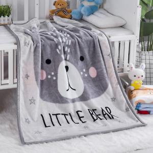Kids Cot Toddler Bed Blanket LITTLE BEAR 130*100cm Minky Polyester Fleece
