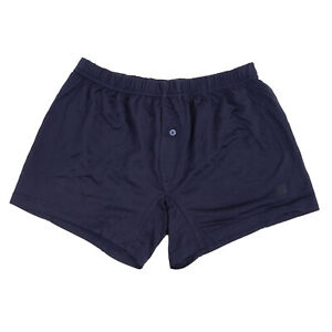 RRP €135 ERMENEGILDO ZEGNA Silk Boxer Trunks Size S Dark Blue Made in Italy