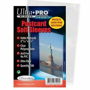 1000ct (10-Packs) Ultra Pro Clear Postcard Protector Soft Sleeves Storage Bags