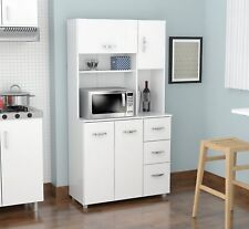 White Microwave Cart Kitchen Cabinet Cupboard Storage Hutch Pantry Drawers New