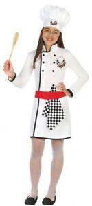 Chicas Chef Libro De Cocina Día de Trabajo Uniforme Elaborado Vestido Traje de Disfraz 5-12 años