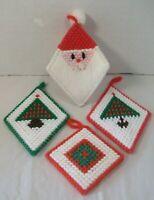 4 Plastic Canvas Handmade Christmas Ornaments Embroidered Santa Tree Noel