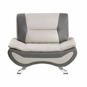 Lexicon Veloce Faux Leather Accent Chair in Beige and Gray