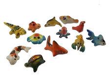 Lot of  12 Ocean Fish Miniatures Ceramic Figurines Animals Collection Painted