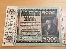 German 5000 Marks 1920 inflation money (WRITING ON SIDES)