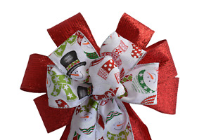 """10"""" Hand Made Wired 2 Ribbon Metallic Red Snowman Wreath Bow Christmas Holiday"""
