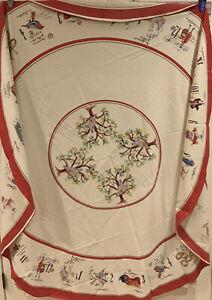 "Williams Sonoma Twelve 12 Days Of Christmas Tablecloth  70"" Round"