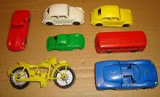 SET 7 MODELLINI IN PLASTICA ANNI 60/70 - FERRARI GT 350/PORSCHE/MOTO/VOLKSWAGEN