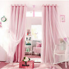 Mediterranean Blockout Double Layer Bridal Lace Sheer Eyelet Curtains Pink White