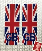 2 x UNION JACK GB Number Plate Stickers Super Shiny Domed Resin Finish