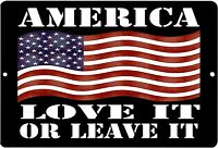 "American Patriotic Metal Tin Sign Wall Decor Man Cave Bar USA Flag 12"" x 8"""