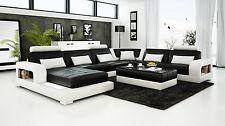 Modern Large LEATHER SOFA Corner Suite NEW RRP £5499 Black
