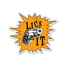 """Lick It Gun Gangster car bumper sticker decal 5"""" x 4"""""""