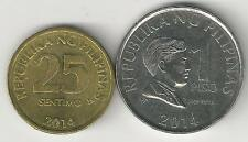 2 COINS from the PHILIPPINES - 25 SENTIMOS & 1 PISO (BOTH DATING 2014)