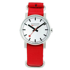 Mondaine A658.30300.11SNC Women's White Dial Red Nylon Strap Watch