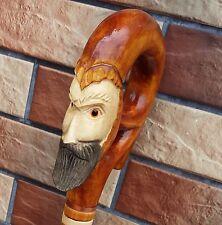 MAGICIAN Cane Walking Stick Wooden Handmade Wood Carving Exclusive Folk Art,