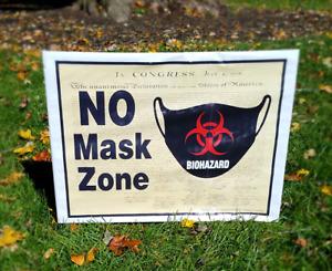NO MASK ZONE Yard Sign with Wire U-Frame