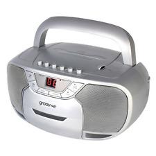 GROOV-E CLASSIC BOOMBOX PORTABLE CD & CASSETTE PLAYER W/ RADIO SILVER GVPS823SR