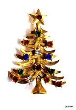 Eisenberg ICE Christmas Tree Brooch Pin 1970s Holiday Rhinestone Vintage Brooch