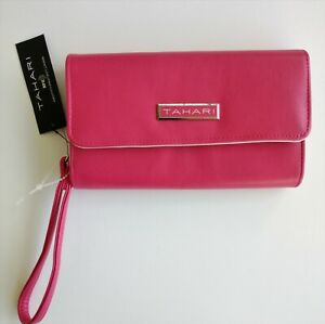 NEW TAHARI Hot pink and silver long Women wallet Clutch Zipper organizer